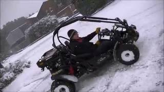 Winter Fun on snow with Hammerhead road legal buggy 250cc. Snow / mud tyres
