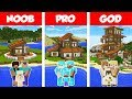 Minecraft NOOB vs PRO vs GOD TROPICAL FAMILY HOUSE BUILD CHALLENGE in Minecraft Animation
