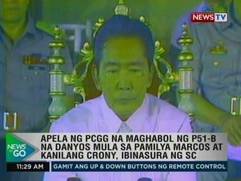[GMA]  Apela ng PCGG na maghabol ng P51-B na danyos mula sa mga Marcos at kanilang crony, ibinasura