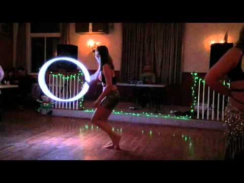 Hoop instructor, Morgan, live hoop performance.
