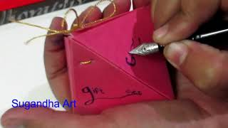 How to Write Calligraphy l How to Write Name on Gift Box l How to Write Name on Gift Card