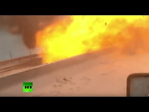 Moment car explodes in deadly traffic pile-up in Russia