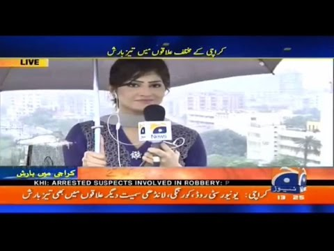 Hifza Chaudhary Reporting In Rain (27 August 2016)