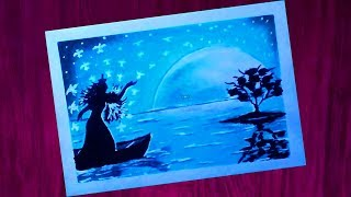 How To Draw Scenery Of Moonlight With Oil Pastel ฟร ว ด โอออนไลน