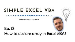 How to declare an array in Excel VBA - Simple Excel VBA