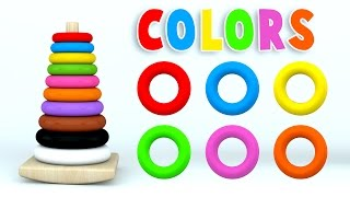 Learn Colors with Color Stack Rings and More Colours Videos for Children