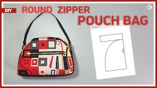 DIY/ ROUND ZIPPER POUCH BAG/ MINI HANDBAG/ FREE PATTERN/ 라운드 지퍼파우치 백 만들기/ 패턴공유/ Sewing/ Tutorial