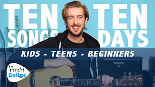 Guitar Lesson 1 for Kids - YOUR FIRST SONG! // LEARN 10 SONGS IN 10 DAYS