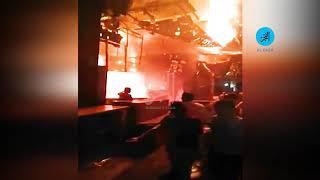 حريق هائل بمخزن للالعاب النارية في الموسكي