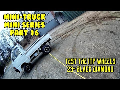 """Mini Truck (SE01 EP16) ITP wheels, rims, 23"""" tires, turning radius, comments, HiJet Comedy series"""