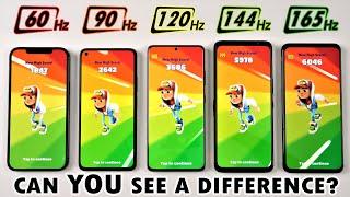 165Hz vs 144Hz vs 120Hz vs 90Hz vs 60Hz - Smartphone Screen Refresh Rate Comparison