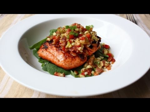 Grilled Salmon with Bacon & Corn Relish – Salmon with Warm Sweet Corn and Bacon Relish Recipe
