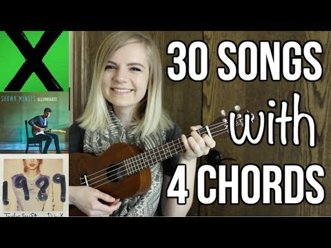 4 basic chords, 30 songs on ukulele