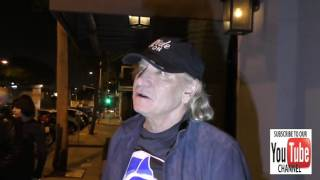 Joe Walsh talks about Hillary Clinton over Trump for president outside Craig's Restaurant in West Ho
