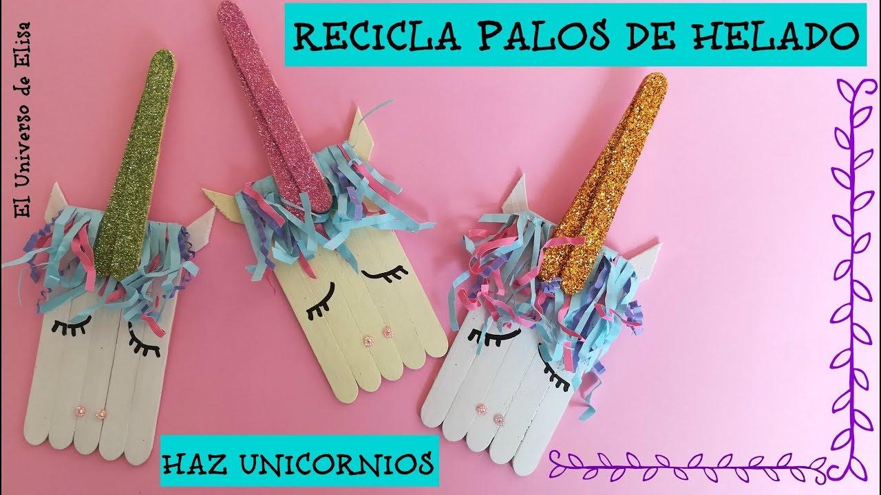 Manualidades de Reciclaje, Unicornio con Palos de Helado, Cómo hacer Unicornios, Manualidades Verano