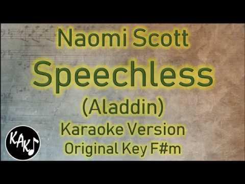 Naomi Scott - Speechless Karaoke Lyrics Instrumental Cover Original Key F#m