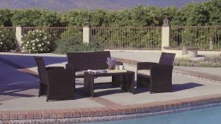 Best Choice Products Outdoor Garden Patio 4pc Cushioned Seat Wicker Sofa Furniture Set- SKY2642