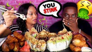 SMELLING LIKE FISH MUKPRANK ON BEAST MODE + SEAFOOD SUSHI MUKBANG 먹방 | QUEEN BEAST