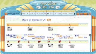 Summer Of '69 - Bryan Adams - Guitaraoke, Chords & Lyrics, Guitar Lesson - playwhatyoufeel.com