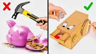 "Say ""NO"" to Piggy Banks, Say ""OH YEAH"" to CARDBOARD COIN BANKS!"