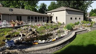 Large Private Model Railroad RR LGB G Scale Gauge Train Layout of Dennis Cipcich's awesome trains