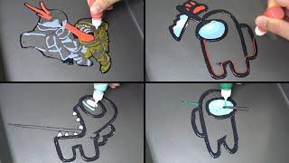 Among us Pancake Art 4 - realistic zombie, Impostor, Player, kill animations