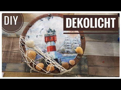 DIY IDEE  Maritime Leuchtdeko - selber basteln   Licht   Serviettentechnik  [Tutorial   deutsch]