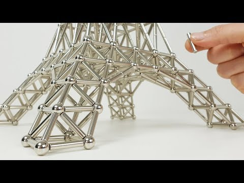 Guy assembles Eiffel tower out of magnets with incredibly satisfying editing.