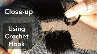 CLOSE-UP: How-to Make A Lace Closure/Lace Frontal Using A Tiny Crochet Hook | Latch Hook Method