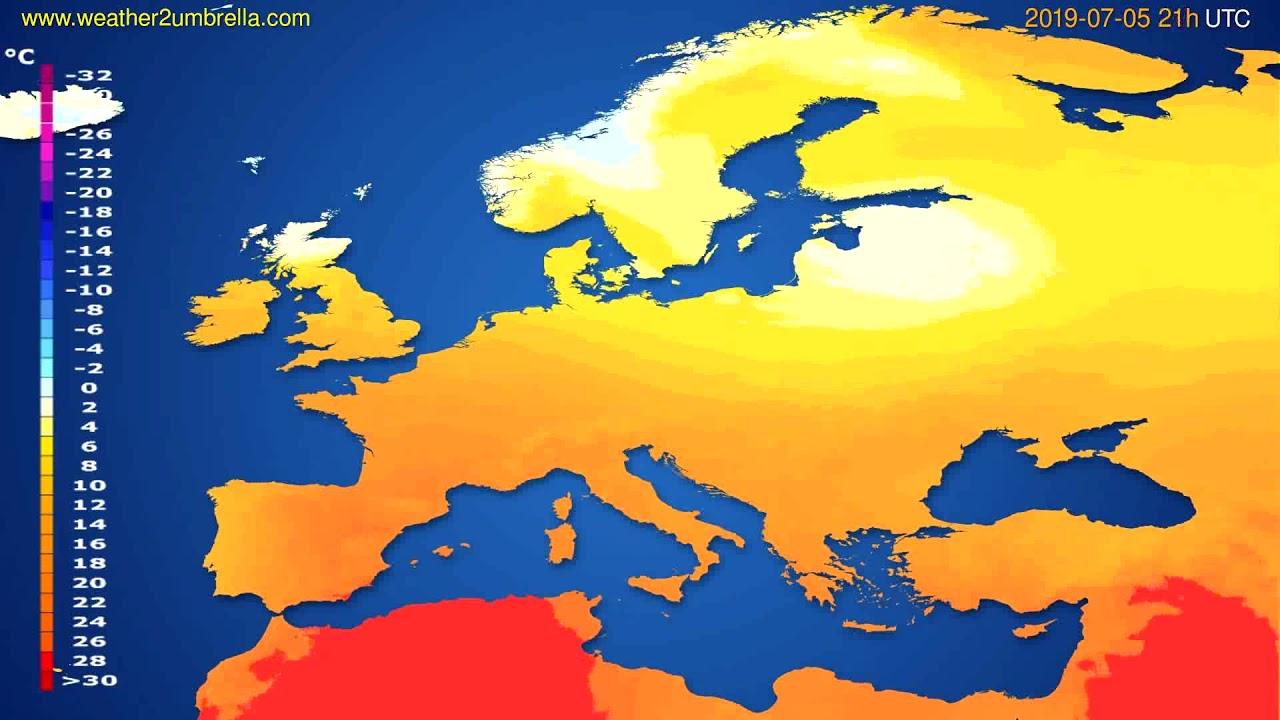 Temperature forecast Europe // modelrun: 00h UTC 2019-07-04