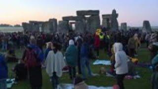 Crowds at Stonehenge for summer solstice sunrise