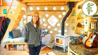 Womans Magical Cob House Built With Earth & Reclaimed Materials