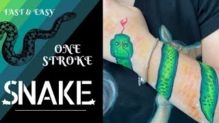 One Stroke Snake Arm Design And Face Painting Design | Fast & Easy