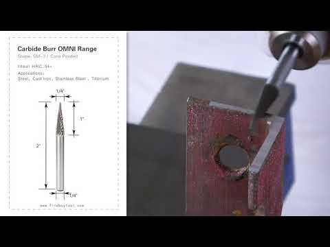 Carbide Burr SM-3 Cone Pointed Shape OMNI Range Head D 1/4 x 1L, 1/4 Shank, 2 Inch Full Length