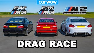 [carwow] BMW E46 M3 vs E36 M3 vs M2 Comp: DRAG RACE