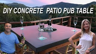 How To Make A Concrete Patio Pub Table With LED Lights And A Cooler