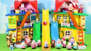 Peppa Pig House Construction Sets - Lego Duplo House With Water Slide Creations Toys For Kids #2