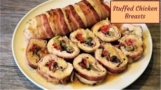 Stuffed Chicken Breast wrapped with Bacon - Easy and Delicious!