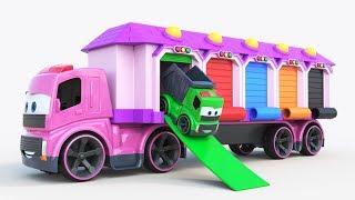 Garajes en el camión Coches de juguete! Autobús escolar, coche de policía, ambulancia y camión de bo