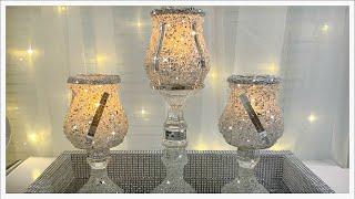 $2 DOLLAR TREE DIY INTO GLAM CANDLE HOLDERS USING CRUSHED GLASS | DIY WEDDING DECOR