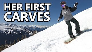 Her First Carving Attempts Snowboarding