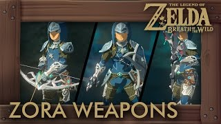 Zelda Breath of the Wild - All Zora Weapons (Complete Set Location)