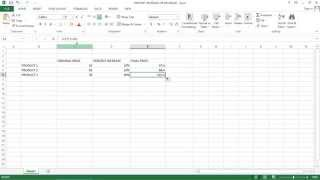 Excel  2013 Tutorial - How to apply Percent Increase or Decrease