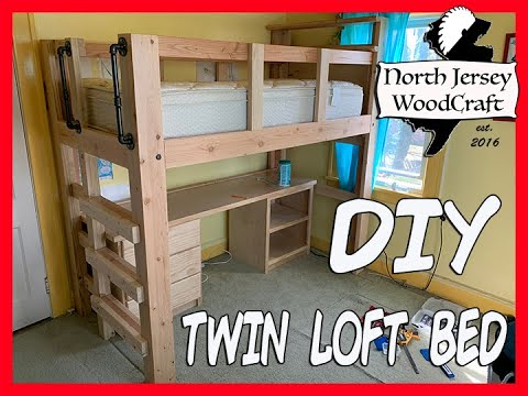 D.I.Y Twin Loft Bed with Desk, Storage, and Tall Built In Book Shelf