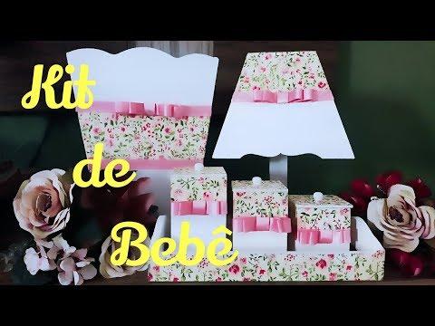 Kit de Bebê MDF decorado com tecido