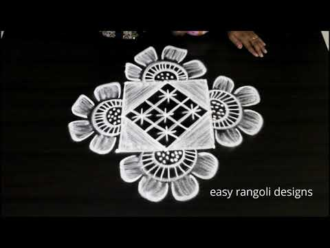 Creative & beautiful kolam muggulu  ||  easy rangoli patterns with 3 dots ||  simple n cute designs