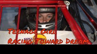 Teenage Girl Racing Toward Dream. Dirt Track Racer & Dad Team Up.
