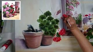 Pintar geranios , paint geraniums one stroke