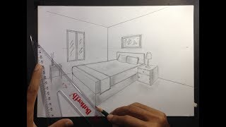 How To Draw A Simple Bedroom In Two Point Perspective