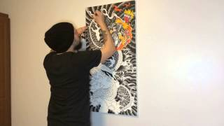 Drawing Japanese Dragon On Canvas (short Time Lapse)